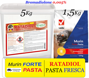 VEBI Murin Stark Pasta - 1,5 / Ratadiol 5 KG - Köder Rattengift Mäuse Ratten