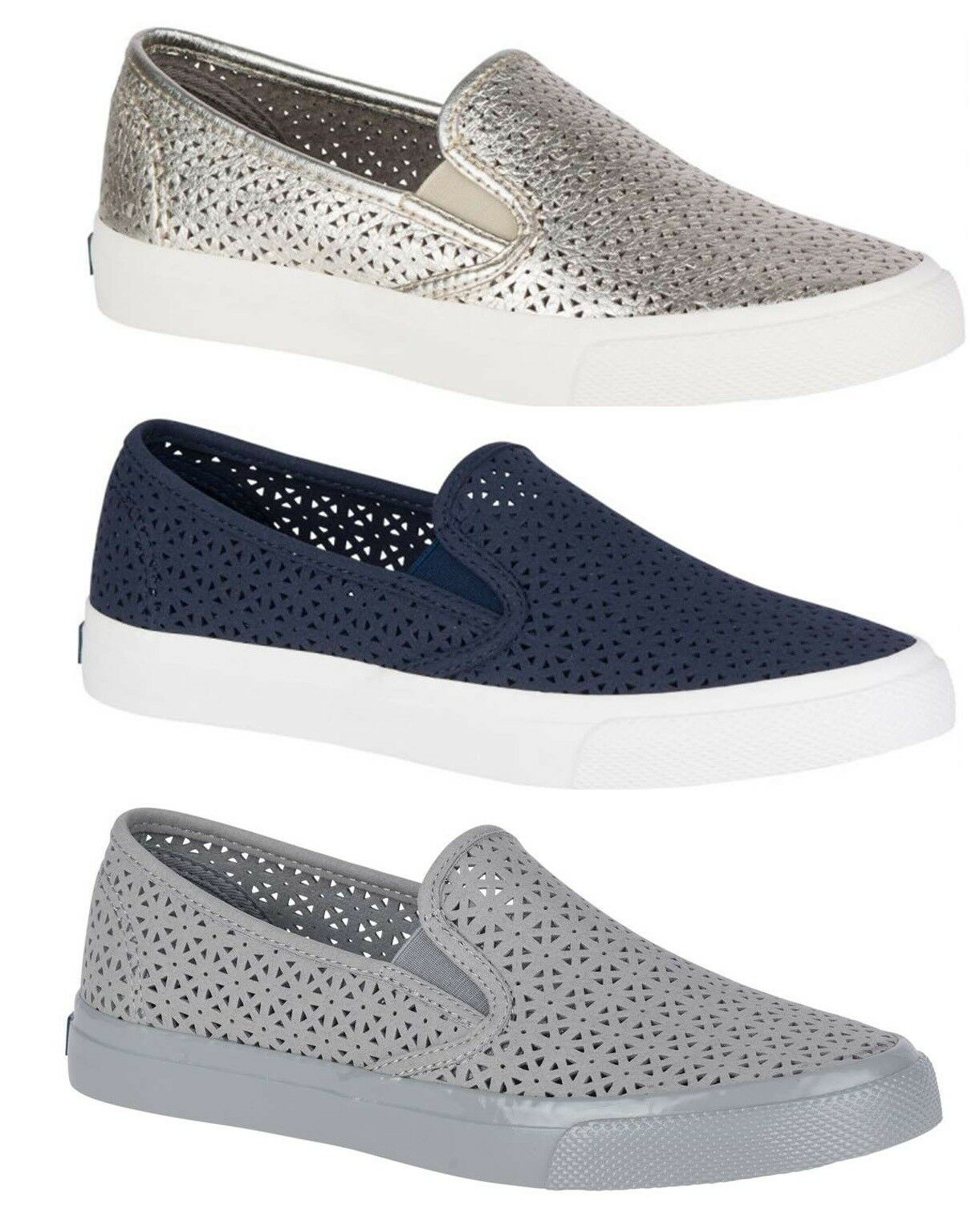 Sperry Women's Seaside Nautical Perforated Perforated Perforated Suede Slip On Loafers Boat shoes NEW 9848a9