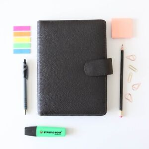 Filofax Finsbury Personal Grained Leather Organiser Black With Popper Closure Office Supplies & Stationery