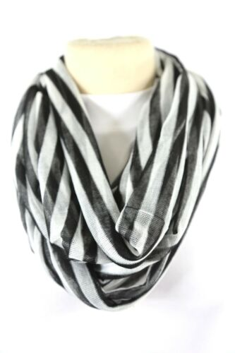 B23 Eternity Stripe Gauze Texture Black /& White Infinity Scarf  Boutique