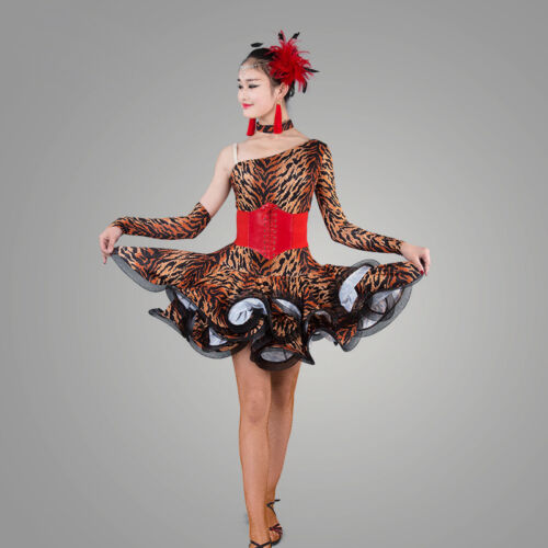 NEW Latin Ballroom Dance Dress Modern Salsa Waltz Standard Long Dress#CB025