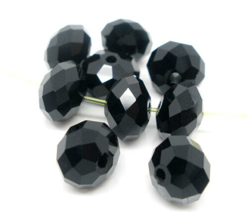 Sonderpost Schwarz  Facettiert Glasschliffperlen Beads 8mm