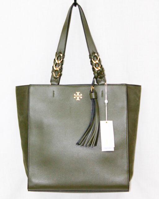 8931820bdc8b NWT  658 TORY BURCH Brooke Leather Tassel Tote 43716 Leccio Green w  Gold  Hdwr