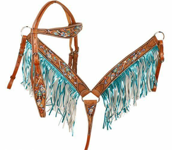 Showman METALLIC Painted FEATHER & ARROW Bridle FRINGE Breast Collar & Reins SET