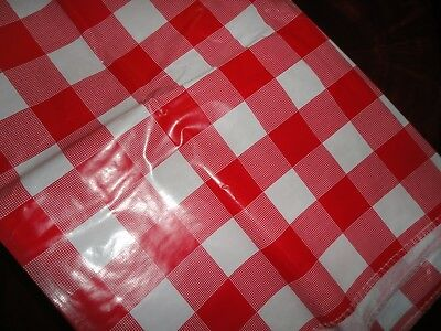 COLEMAN RED & WHITE CHECK PLASTIC/VINYL PICNIC TABLECLOTH 54 X 84 OBLONG