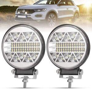 2Pcs Round LED Work Light 9000LM Spot Flood Beam Light Bar Offroad Driving Light