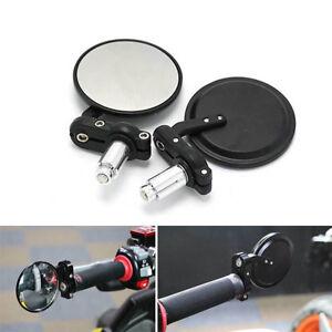 MOTO-specchietto-retrovisore-3-034-MANUBRIO-fine-7-8-034-LATO-SPECCHI-Rotondo-Nero