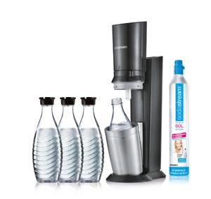 Zylinder SodaStream Crystal 2.0 Wassersprudler titan mit 3x 0,6L Glaskaraffen