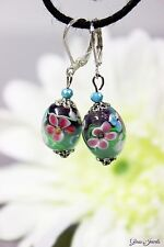 Glass Jewels Silber Ohrringe Ohrbrisuren Filigran Lampwork Perlen Blume #L065