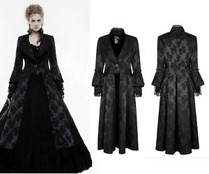 Punk-Rave-Mantel-Gothic-Steampunk-Coat-Victorian-Spitze-Lace-Jacquard-WY-844CLF