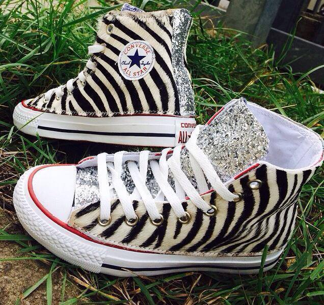 Converse All Star with side in Pony Zebra Lin and tacglitter Silver
