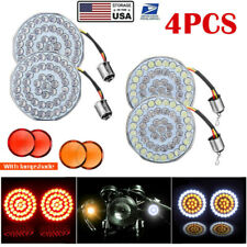 2 Led 1157 Motorcycle Front And Rear Turn Signal Lights Inserts Smoke Lens