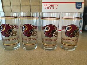 Set-Redskins-Pint-Glasses-Tumblers-Lot-4-New-Collectible