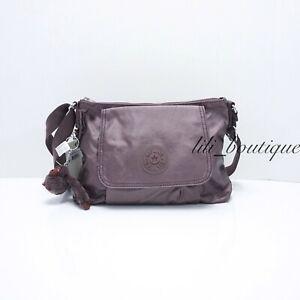 NWT-Kipling-KI0092-Eleanor-Crossbody-Shoulder-Bag-Nylon-Popping-Purple-Metallic