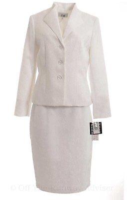 1271-2 Le Suit Damen Blumenmuster Jacquard Rock Anzug Set Weiß, 6 $ 200 üBerlegene (In) QualitäT
