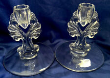 New Martinsville Glass Pair of Vintage Double Light Candle Holders Janice # 4536 in Clear  Pristine Condition Holds 2 Tapper Candles
