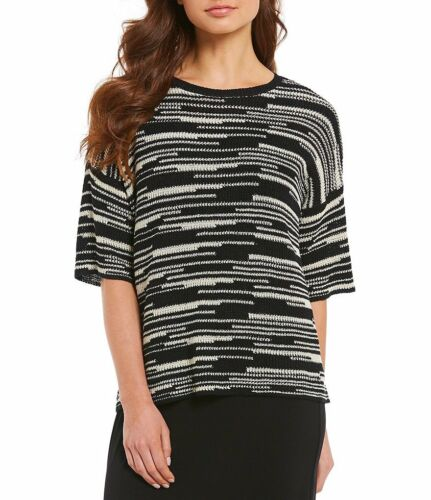 $198 Eileen Fisher Black// Natural Organic Linen /& Cotton Line-Print Top