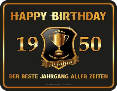 70 Jahre Happy Birthday 1950 Geschenk Blechschild Geburtstag Sprüche Schilder