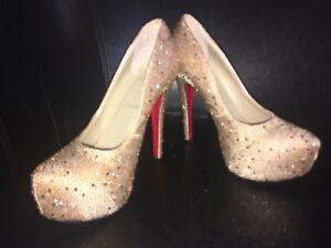 Crystal Lebouutin Shoes Christian Gold 37 Pqvnw86