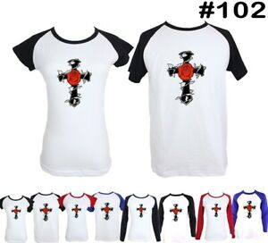 LOVE-Red-Rose-and-Cross-Design-Couple-T-Shirt-Men-039-s-Women-039-s-Graphic-Tee-Tops