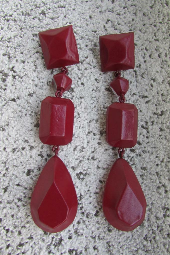 CELINE Chandelier Drop Earrings Burgundy Painted Plexi Brass Phoebe Philo AUTH