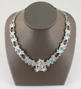 "Vintage Navajo Storyteller turquoise Sterling Silver Necklace 18"""