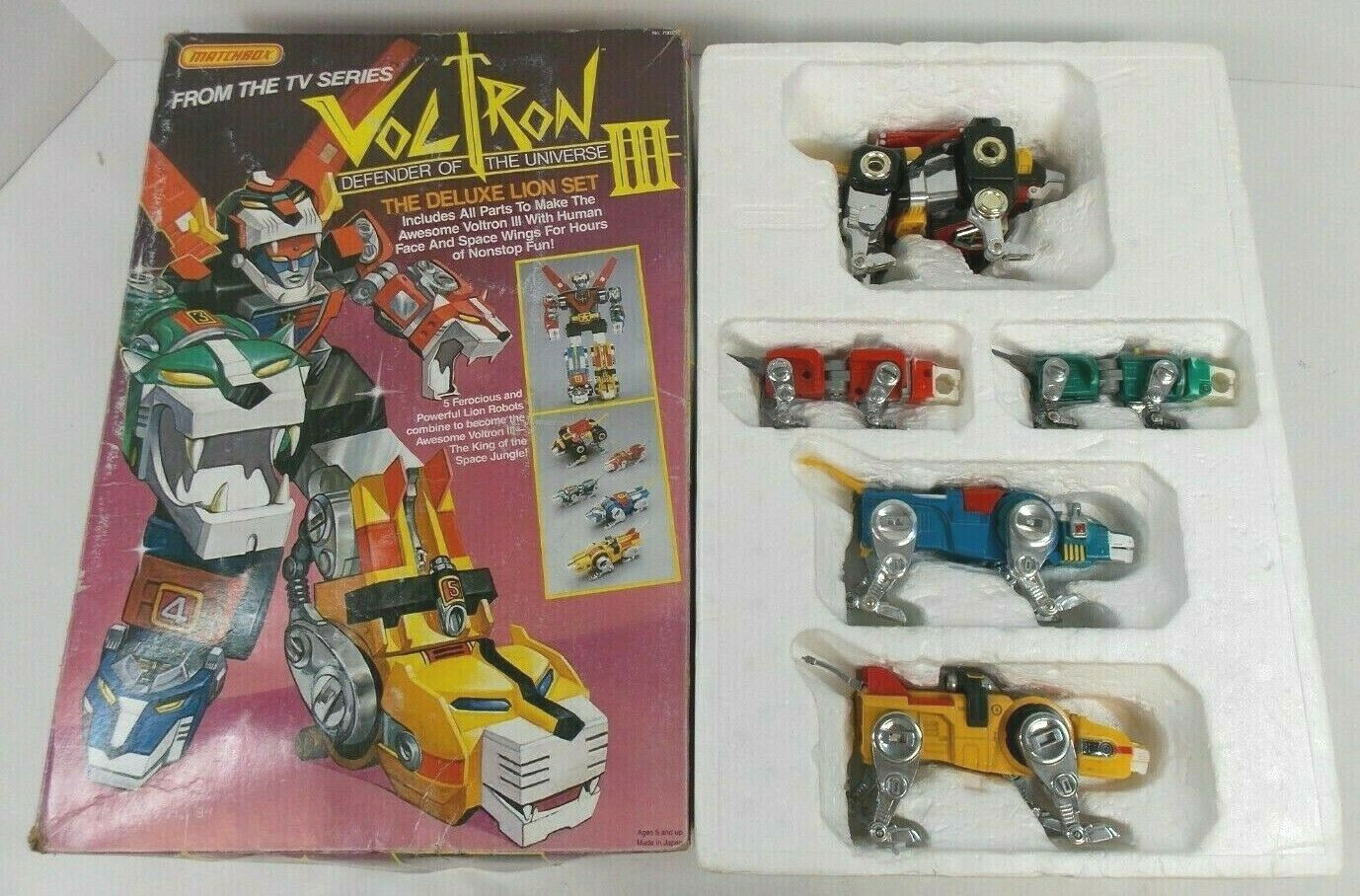 VOLTRON DEFENDER OF THE UNIVERSE DELUXE LION SET DIE CAST 1984 MATCHBOX