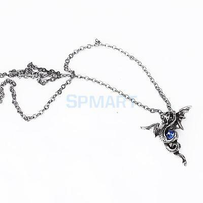 COOL MENS VINTAGE SILVER DRAGON TOTEM PENDANT LONG CHAIN NECKLACE PUNK JEWELRY