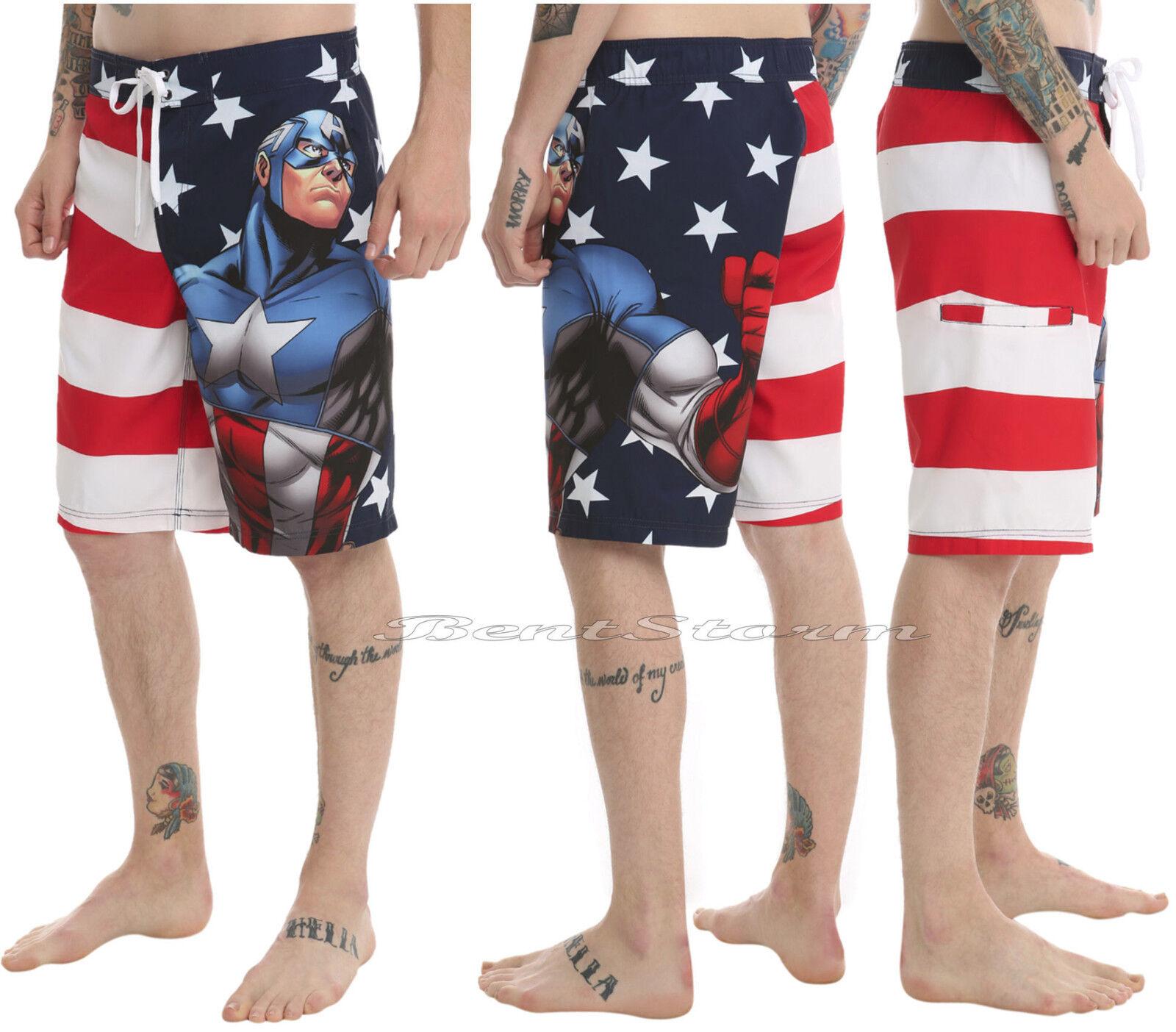 d23b0d10f4 NEW Marvel Avengers Captain America USA Flag Board Shorts Swim Trunks  Swimwear S