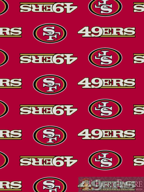 Fabric Sold By The 1//2 Yard! NFL SAN FRANCISCO 49ERS ON BLACK FABRIC MATERIAL