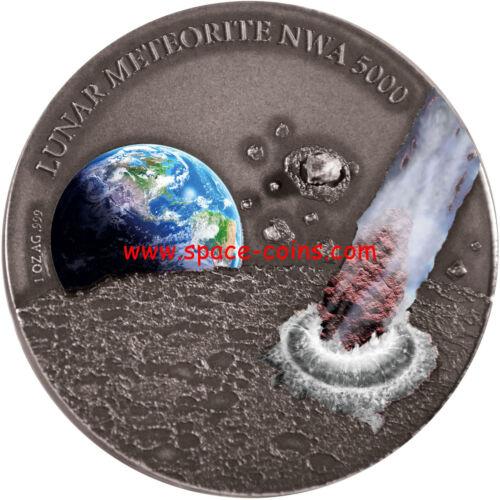$1 Moon Meteorite ONLY 500 MADE Niue Islands 2015- Lunar Meteorite NWA 5000