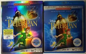 DISNEY-PETER-PAN-BLU-RAY-DVD-2-DISC-SET-SLIPCOVER-SLEEVE-FREE-WORLD-SHIPPING