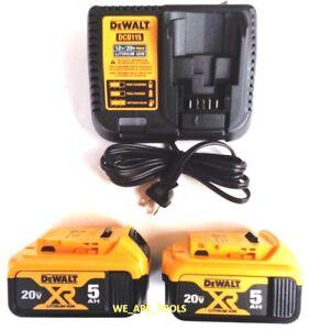 (2) New Genuine Dewalt 20V DCB205 5.0 AH Batteries, (1) DCB115 Charger 20 Volt