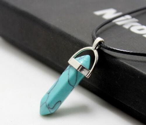 HOT Natural Quartz Crystal Stone Point Chakra Healing Gemstone Pendant Necklace