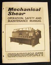 Cincinnati Mechanical Shear Operations And Maintenance Manual