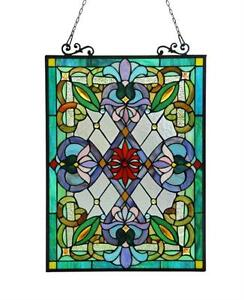 Stained-Glass-Chloe-Lighting-Victorian-Window-Panel-18-X-25-034-Handcrafted-New
