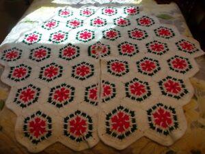 Details about LARGE Handmade Crochet Christmas Tree Skirt 52