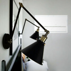 Details About Swing Arm Wall Lamp Indoor Lights Kitchen Black Lighting Sconce