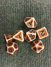HD Dice Poly Set of 7 Dungeons & Dragons D&D Dice In Aged Bone