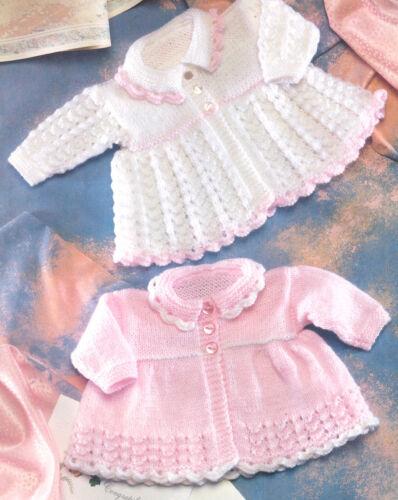 "Vintage  Baby Matinee Coat Lace Pattern 12/"" 20/"" DK Knitting Pattern"