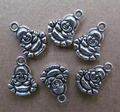 20pc Charms Retro 2-Sided Laughing Buddha Bead Findings Tibetan Silver SA021