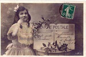 CPA-Je-Porte-Bonheur-Fillette-1907