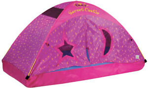 Kids-Bed-Tent-Castle-Pink-Twin-Size-For-Girls-Mesh-Panels-Mattress-Not-Included