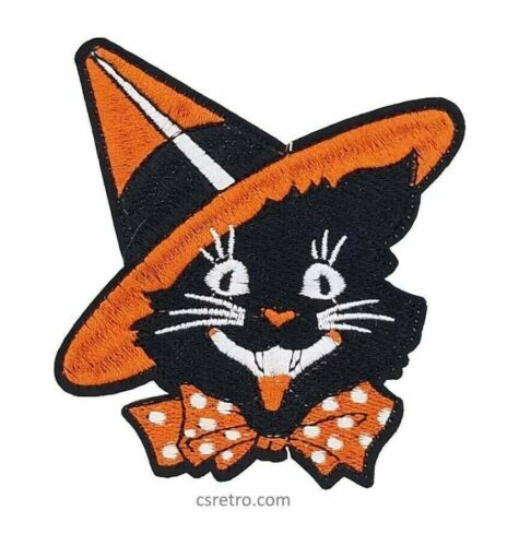 Vintage Halloween Cat 70s 80s Style Retro Embroidered Iron on Patch Applique