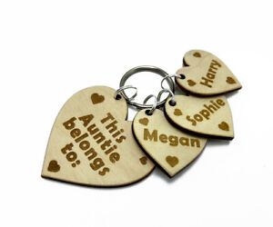 Personalised-Gift-Key-Ring-for-Auntie-with-Engraved-Child-Name-on-a-Small-Hearts