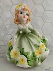 Vintage-Relpo-Beautiful-Southern-Belle-Red-Head-Girl-Planter-Figurine-Japan