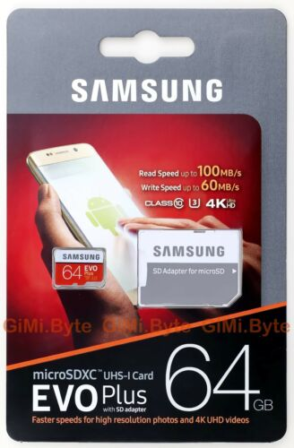 SAMSUNG EVO 64 GB Micro SD SDXC 100MBs Class 10 TF Mobile Phone Memory Card 64G