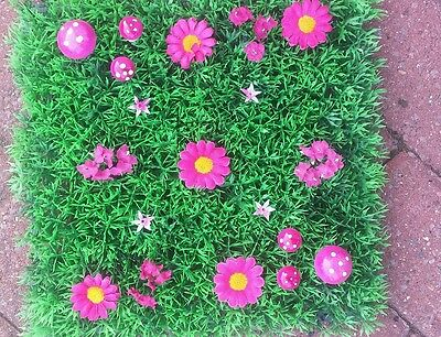 Artificial Grass Fairy Pink daisy Miniature Garden 25cm .Toadstools .
