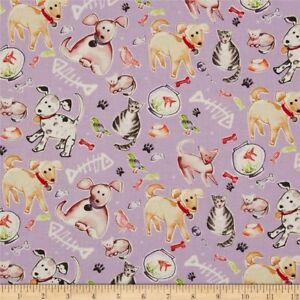 Details About By 1 2 Yard Free Spirit Paw Prints Kathy Davis Pets Lavender Dog Cat Fabric