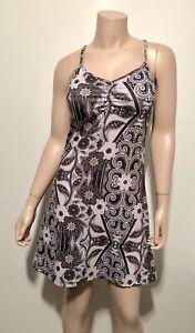 PRANA-Sonja-Short-Dress-Strappy-Shelf-Bra-Jersey-Knit-Black-Floral-Size-Small-S